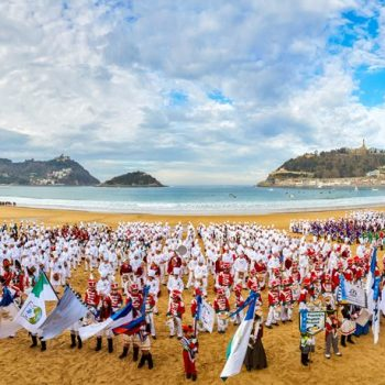 La Concha beach, Tamborrada. Inauguration of Donostia 2016 European Capital of Culture, Donostia, San Sebastian, Basque Country, Spain.